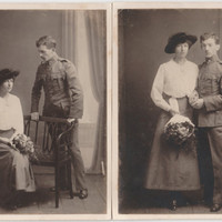 2 WW1 Portrait Photo WW1 Wedding Postcard Vintage Photo old photography World War 1 Ww1 photo WW1 Soldier WW1 Wedding Photos written Potcard