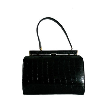 Vintage Black Handbag 1960s Faux Alligator Skin with Satin Interior Lining by Mar-Shel