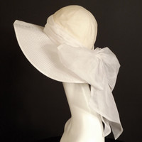 White Organza Wide Brim Cloche