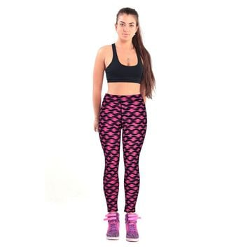 High Waist Fitness Yoga Sport Pants Printed Stretch Ankle Length Pants