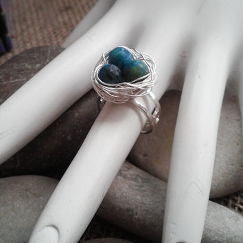 Birds Nest Ring Turquoise Stone Silver Plated Wire Ring Adjustable READY to SHIP
