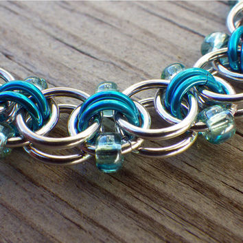 Blue, sea foam and silver beaded chain maille bracelet, Helm Weave