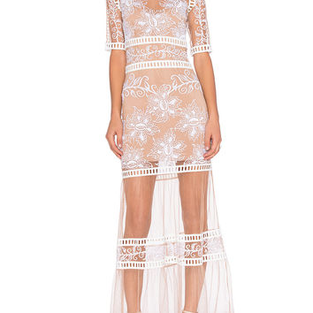 White Sheer Mesh Lace Maxi Dress