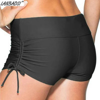 LANBAOSI Hot Summer Women's Beach Surfing Shorts Moisture Wicking Quick Dry Black Swim Shorty Shorts Pantalones Cortos Mujer