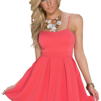 Pink Spaghetti Straps Skater Dress