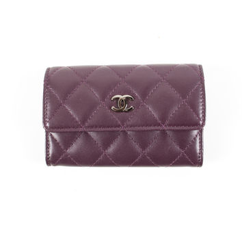 Purple Quilted Leather Card Holder