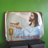 Mexican Catholic Kitsch Jesus/Living Bread Gas Station Hang-Up/Pop Devotional; Dreamy Retro Religious Picture
