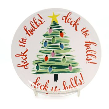 Tabletop DECK THE HALL TREE PLATE Ceramic Holiday Treats 177197