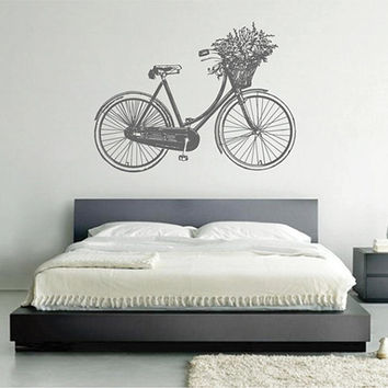 kik2439 Wall Decal Sticker flowers bike classic old retro living room bedroom