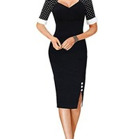 Senfloco Women's Vintage Rockabilly Pinup Party Business Pencil Dress Black