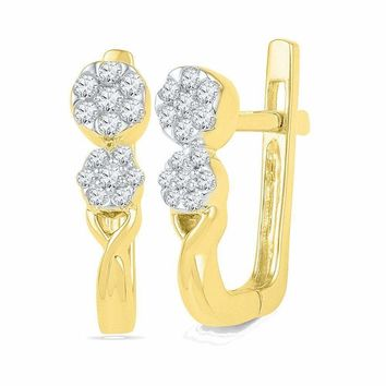 10kt Yellow Gold Women's Round Diamond Flower Cluster Hoop Earrings 1-5 Cttw - FREE Shipping (USA/CAN)