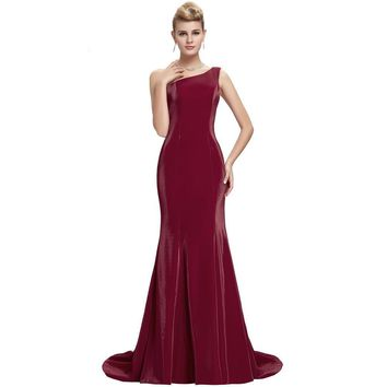 Grace Karin Elegant Wine Red Mermaid Evening Dresses  New Arrival Long burgundy Formal Evening Gowns robe de soiree longue