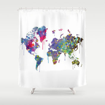 World Map Watercolor Shower Curtain by Bitter Moon