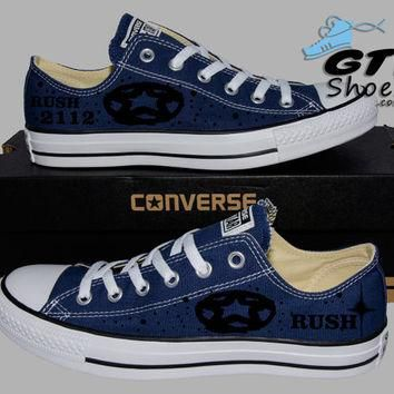 Hand Painted Converse Lo Sneakers. Rush 2112 Music Band. Alex, Neil, Geddy. Handpainte