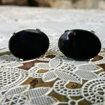 Vintage Black Glass  Mens Cuff Links Silver Tone Metal