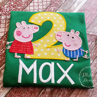 Peppa & George Pig Birthday Custom Tee Shirt - Customizable -  Infant to Youth
