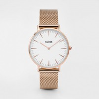 CLUSE Watches | La Bohème Mesh Rose Gold White | Simplicity Minimalistic