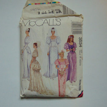 Vintage 1980s McCall's 3534 Victorian Style Bridal Gown and Bridesmaids Dress with Detachable Train Sewing Pattern size 6-10
