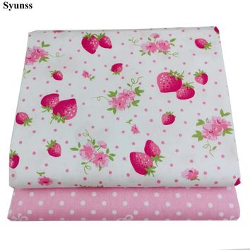 Syunss Strawberry Dot Printed Twill Cotton Fabric DIY Handmade Sewing Patchwork Baby Cloth Bedding Textile Quilting Tilda Tissus