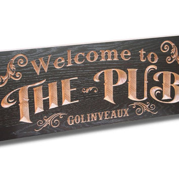 Pub Sign: Carved Wood Sign Man Cave Sign Personalized Signs Last Name Sign Gift For Dad Garage Sign  Wooden Sign Custom Wood Signs 11x28 CT