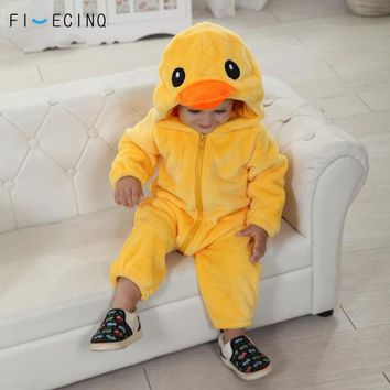 Yellow Duck Kigurumi Baby Kid Animal Cosplay Costume Kawaii Warm Flannel Pajama Suit Child Infant Birthday Party Game Jumpsuit