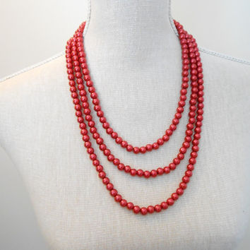 Pearl necklace: Multi strand red glass beads, unique for wedding, Bridesmaid Gifts, Mother of the Bride, Bridal, Birthday, Mum jewelry