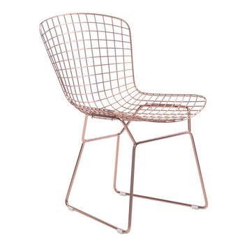 Wire Dining Chair Rose Gold Chromed Steel (Set of 2)