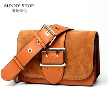 SUNNY SHOP Brand Designer Women Shoulder Bag Genuine Leather Women Bag  Cow Leather Handbag