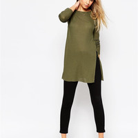Casual Army Green Long Sleeve Long Side Slit Mini Dress