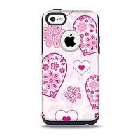 The Pink Floral Designed Hearts Skin for the iPhone 5c OtterBox Commuter Case