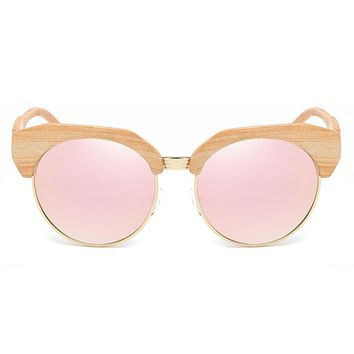 ROYAL GIRL Half-Frame Imitation Wood Cat Eye Sunglasses Women Polarization Sun Glasses Brand Designer Gafas Oculos De Sol SS962