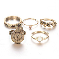 Set of 5 Fashion Antique Gold Plated Vintage Rings
