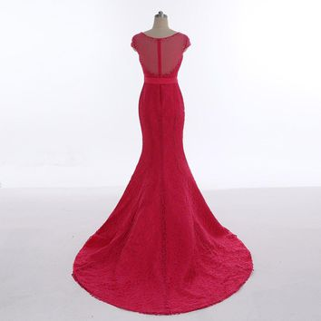 Elegant Scoop Neck Lace Zipper Sashes Cap Sleeves Long Evening Dresses Mermaid Beading Floor Length Evening Dress