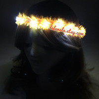 Light Up LED Daisy Flower Crown for Festivals, EDC, EDM Raves or Concerts (20 LEDs) Yellow Daises