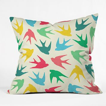 Jacqueline Maldonado Birds Multicolor Throw Pillow