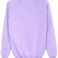 ROMWE | Scoop Collar Light-purple Jumper, The Latest Street Fashion