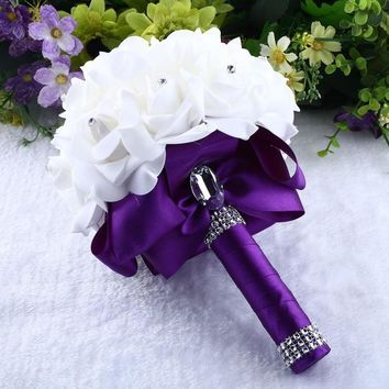 Wedding Handmade Brooch Bride Rhinestone Bridesmaid Bouquet For Wedding Decorative Flowers