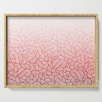 Gradient red and white swirls doodles Serving Tray by savousepate
