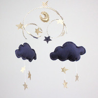 Gold Stars and Moon Cloud Mobile in gold, navy, white and cream - Off to Neverland - fabric sculpture for modern baby nursery decoration