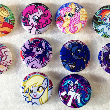 My Little Pony Friendship is Magic Fanart Pinback Buttons Set 10 Different Characters Rainbow Dash Luna DJ PON3 Pinkie Pie Derpy Pins