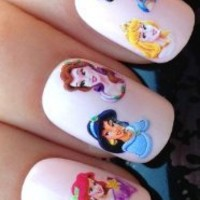 NAIL ART WATER TRANSFERS STICKERS DECALS PRINCESS ARIEL/BELLE/AURORA/JASMINE #101
