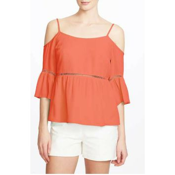 1.STATE Women's Coral Cold Shoulder Peasant Shirt
