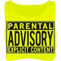 Neon Parental Advisory: Custom Misses American Apparel Neon Oversized Crop Top Tank Top - Customized Girl
