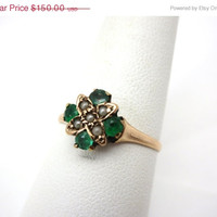 SALE Emerald Pearl Ring - 14k Rose Gold and Seed Pearls Victorian Jewelry Engagement Ring Birthstone