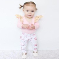 Autumn Baby girl clothes sets infant newborn baby cotton baby girl clothing set 2pcs suit T-shirt+Pants baby fashion