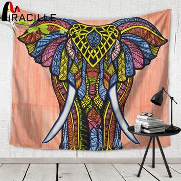 Miracille Indian Hippie Tapestry for Summer Holiday Elephant Painting Tapestries Fashion Beach Towel Home Decor