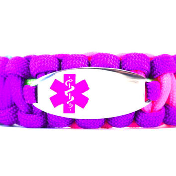 550 Paracord Bracelet with Engraved Oval Stainless Steel Medical Alert ID Tag - Purple
