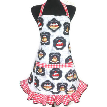Ice Cream Sundae Apron for Women , White with red and white check ruffle , Retro Kitchen Decor