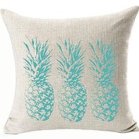 Ink Painting Turquoise Color Watercolor Fresh Tropical Fruit Pineapple Cotton Linen Throw Pillow Case Cushion Cover Home Office Decorative Square 18 X 18 Inches