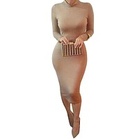 2015 Autumn Kim Kardashian Sexy Long Sleeve Pencil Women Bodycon Dress Plus Size Black Turtlenack Midi Bandage Party Dress Femme
